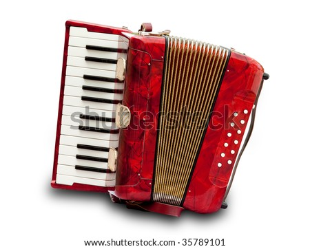 Retro small red accordion isolated on white - stock photo