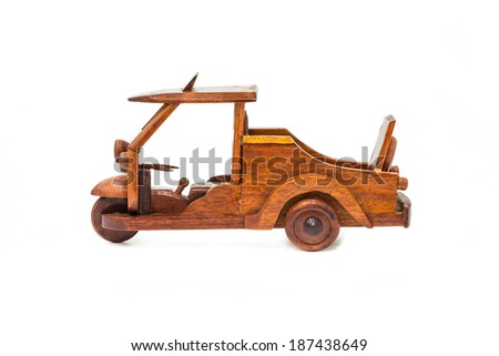 "Retro small wooden of "" TUK TUK""  car isolated on white background - stock photo"