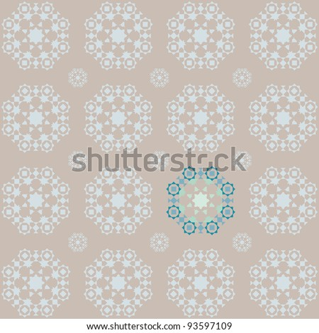 Retro snowflake style seamless wallpaper in brown and blue tones with a stand out section