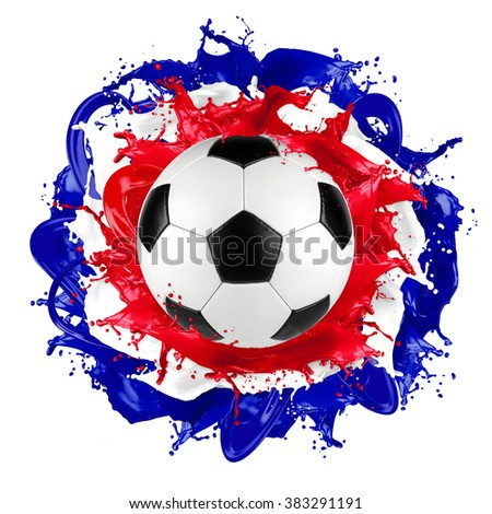 retro soccer ball with french flag color splash isolated on white background - stock photo