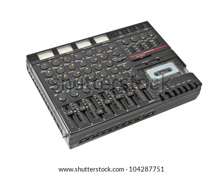 Retro sound mixing board and cassette recording device isolated. - stock photo