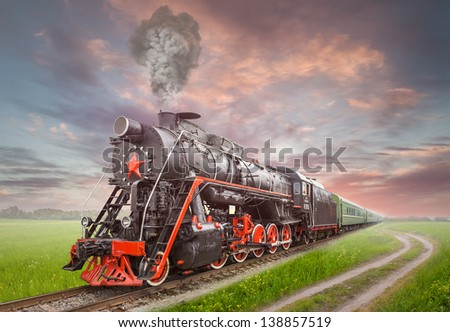Retro Soviet steam locomotive - stock photo