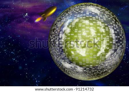 Retro space craft near large interstellar city ship - stock photo