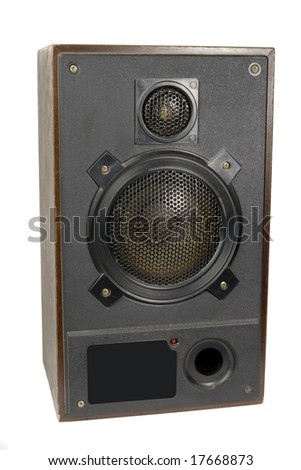Retro speaker on white ground - stock photo