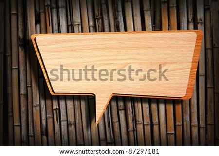 Retro speech bubbles from splat on bamboo wall background - stock photo