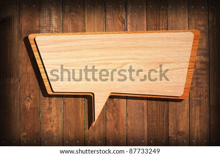 Retro speech bubbles from splat on wood wall background - stock photo