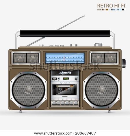 Retro Stereo Radio Cassette Recorder illustration