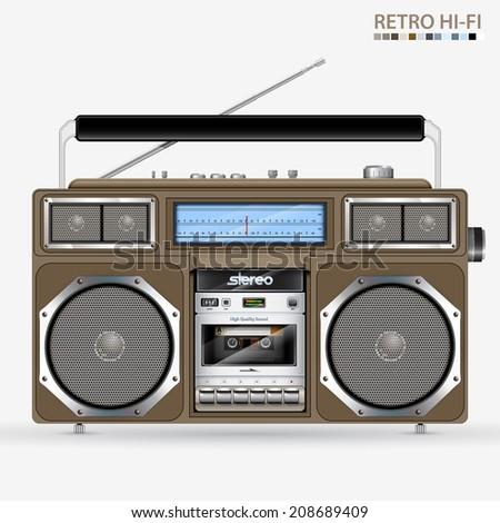 Retro Stereo Radio Cassette Recorder illustration - stock photo