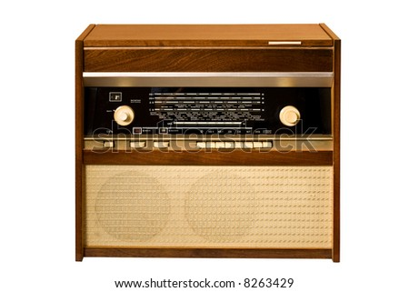 retro stile: old antique radio over white