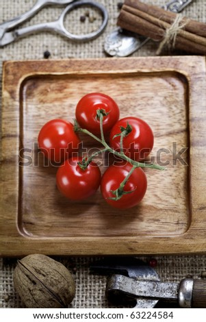 Retro Still Life with cherry tomatoes - stock photo