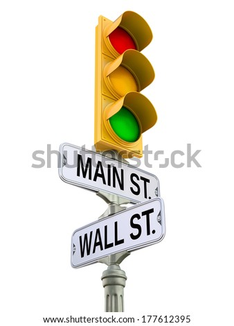 Retro street sign with traffic light - stock photo