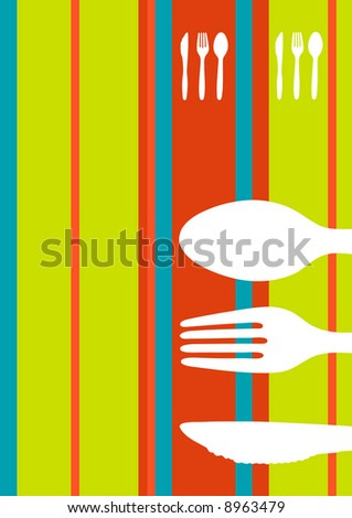 Retro striped food/restaurant/menu design with cutlery silhouette - stock photo