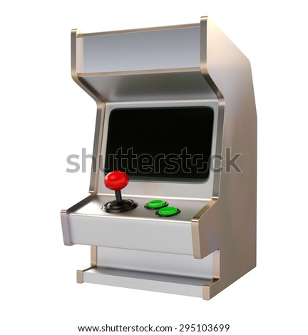 Retro Style Arcade Game Machine with Black Screen Isolated on White
