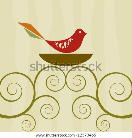 Retro style bird on nest atop swirly vines
