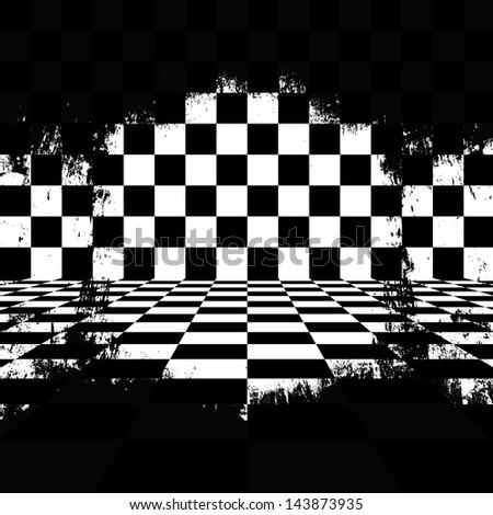 Retro style black & white checkered background - stock photo