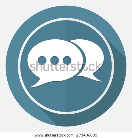 retro style bubble speech icon on white circle with a long shadow - stock photo