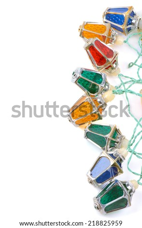Retro style christmas lights with copy space - stock photo