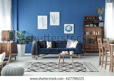 Retro Style Cozy Living Room With Blue Walls And White Floor Part 71