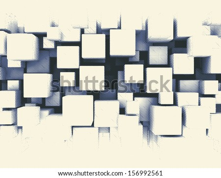 Retro style dotted 3d cubes  - stock photo