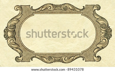 Retro style frame on vintage textured paper background (digitally altered detail of 100 Rubles banknote design, Russia, 1910's, creator: Rihards Zarins - copyright expired) - stock photo