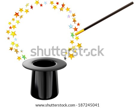 Retro style hat with wand and stars for magic trick on white background