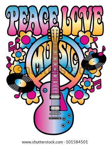 Retro-style illustration of a guitar and peace symbol with the words Peace Love Music. Type style is my own design. - stock photo