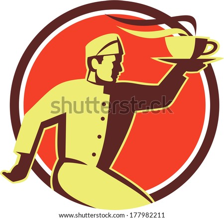 Retro style illustration of a waiter serving carrying hot coffee cup on one hand running viewed from side set inside circle done in retro style. - stock photo