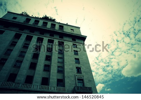 Retro style image of a Building in Downtown Sao Paulo, Brazil.