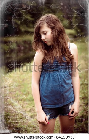 Retro style image of a pretty young girl with handwritten texture - stock photo