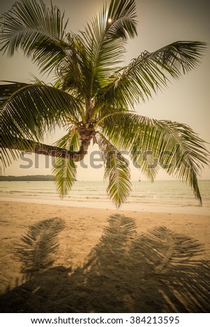 Retro style image of tropical island beach - stock photo