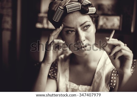 Retro Style Image. Smoking Lady In The Bar. - stock photo