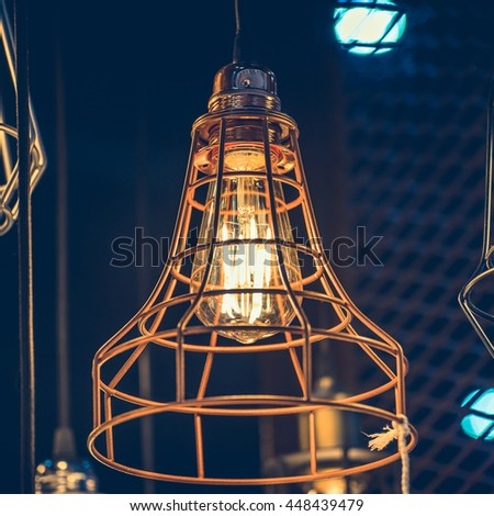 Retro style lighting bulb decor, vintage concept