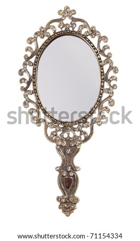 Retro style looking mirror, front view, isolated on white - stock photo