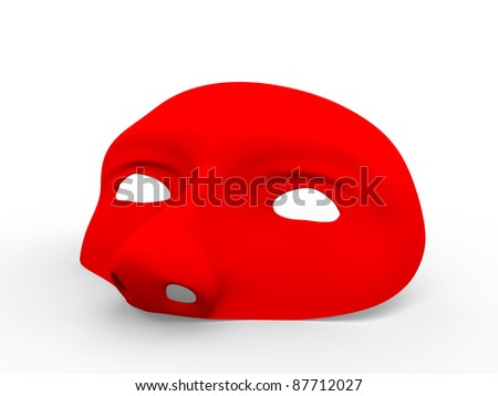 Retro style mask in red. Helps to hide your identity in carnival, halloween or other holidays - stock photo