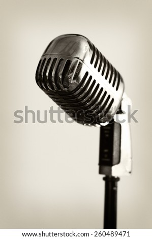 Retro style microphone - isolated - stock photo