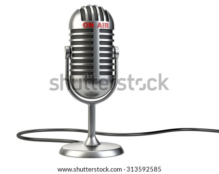 "Retro style microphone with ""on air"" sign isolated on a white background"