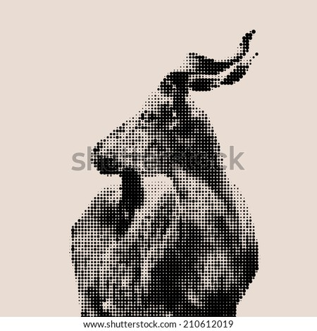 Retro style mosaic portrait of a young marcher male. Side portrait of a majestic goat. Wild animal alpinist with awful screw horns. Wild beauty of the great buck. Square illustration. - stock photo
