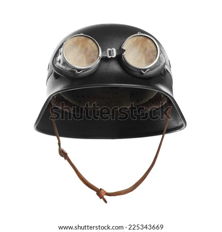 Retro style motorcycle helmet with goggles on a white background.  - stock photo