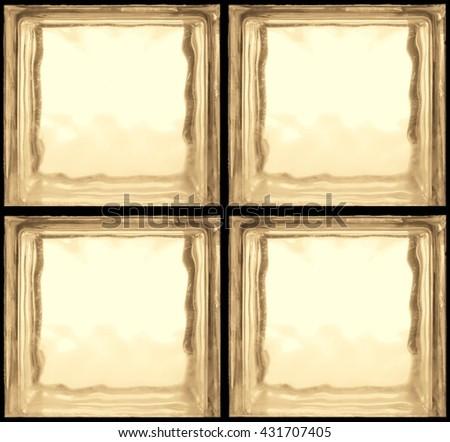Retro style of Square shaped of Yellow glass bricks - Seamless pattern Background  - stock photo
