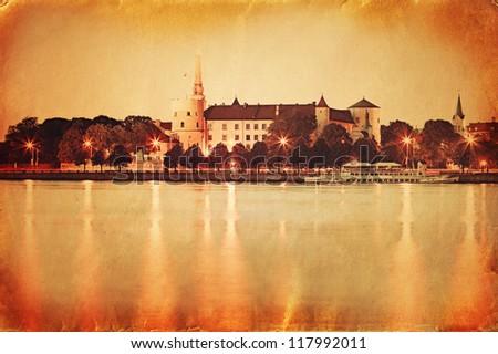 Retro style panorama of old Riga. Latvia - stock photo