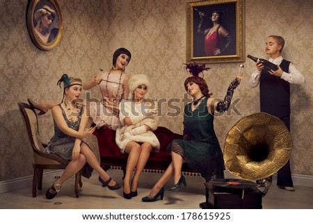 Retro style party with only one model - stock photo