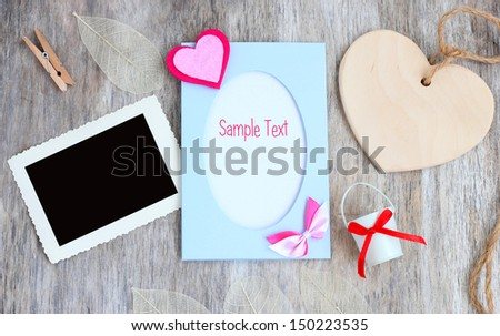 retro style photo Love card postal heart romantic vintage wooden background. - stock photo