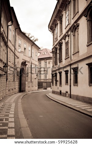 Retro style photo of Prague old town street - stock photo