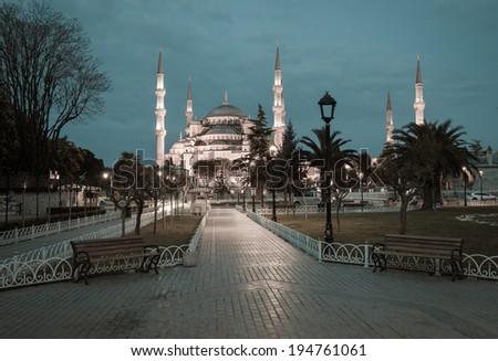 Retro style photo of Sultanahmet Blue Mosque, Istanbul, Turkey