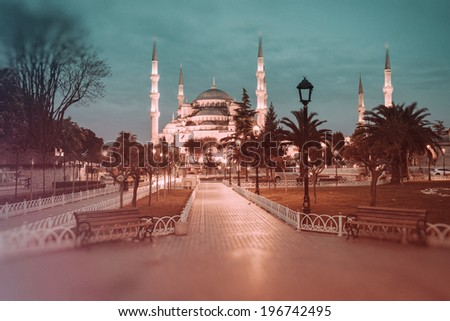 Retro style photo of Sultanahmet Blue Mosque, Istanbul, Turkey - stock photo