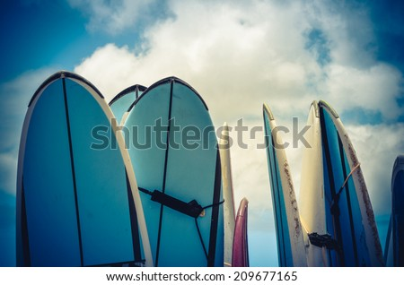 Retro Style Photo Of Vintage Hawaiian Surf Boards - stock photo