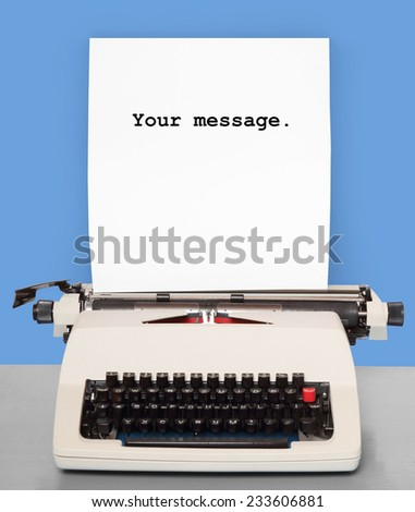 Retro style picture of old typewriter with paper and space for your text.  - stock photo