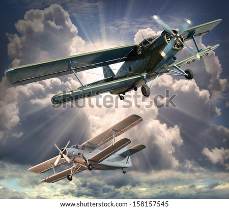 Retro style picture of the biplanes.  - stock photo
