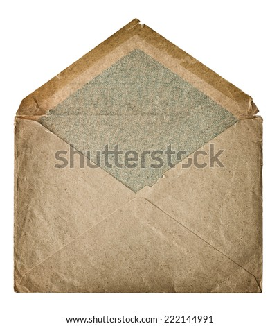 retro style post mail envelope isolated on white background. grungy textured paper - stock photo