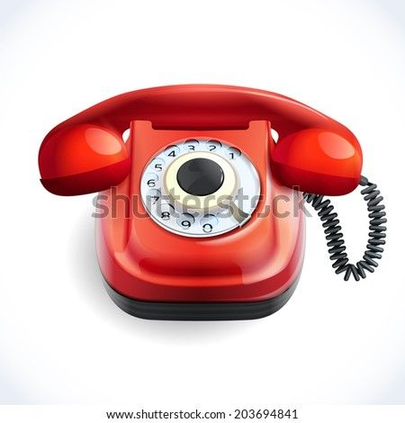 Retro style red color telephone with wire connection isolated on white background  illustration